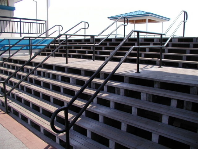 Custom steel 2 line pipe railings / flush mounted ADA compliant. (Long Island, NY)
