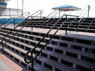 Custom steel 2 line pipe railings / flush mounted ADA compliant. (Long Island, NY)