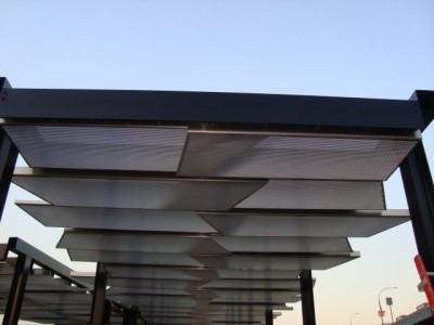 Tubular steel 100' canopy structure, custom commercial. (Municipality - Bronx, NY)