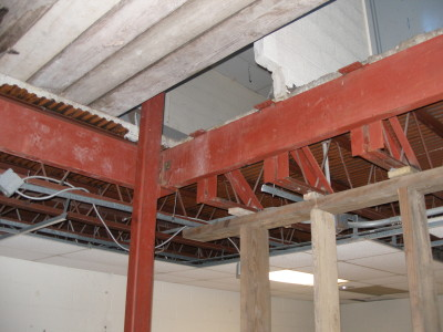 Structural steel openings for mechanicals with tubular steel supports and steel angle Iron welded bracing trusses. (Brooklyn, NY)