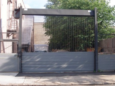 See through Grille freestanding (high cycle) for security parking lots and loading docks. (Queens NY)