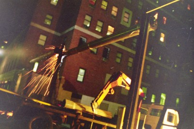 Professional roll down gate welding under any condition – Parking lot night installation. (NY, NY)