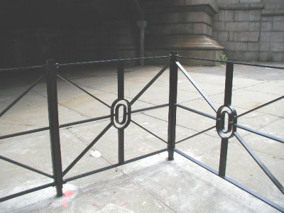 4' Solid steel flat bar fence with handmade bent and welded circular centers. (NY, NY) 1 or 2