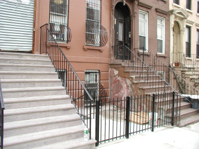 Economy 4' steel fence and stair railings window guards with bellies. (Brooklyn, NY)