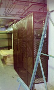 Expanded metal steel welded cage security room with door for furnace protection. (NY, NY)