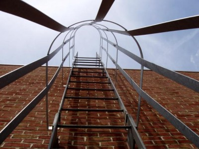 Roof ladder / Galvanized cage. Heated/bent and welded to ladder frame. (Bronx, NY)