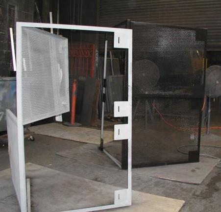 Expanded metal welded steel mesh in angle iron frames with hinges and pad lockable hasps can be made as window guards security doors HVAC dunnage ... & Expanded metal welded steel mesh in angle iron frames with hinges ...
