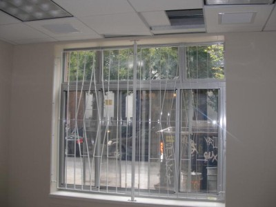Steel welded flat stock window guards. (NY, NY)