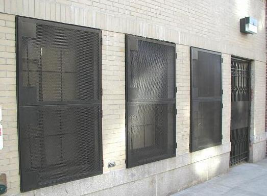 Expanded metal steel mesh window guards. (Brooklyn, NY)