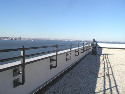 Roof railings – commercial, wall mounts and apoxy bolted into masonry. (Long Island, NY)