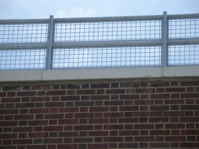 Steel mesh parapet guard railing educational / medical facilities. (Queens, NY)