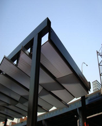 Structural Steel Canopy with Perforated Aluminum with Panels