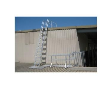 Simple steel fixed roof access ladder side rails landing