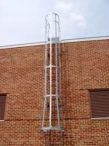 exterior roof ladder steel cage Galvanized platform parapet