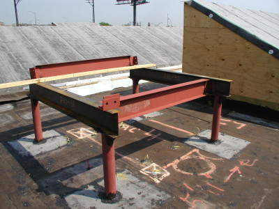 Structural Steel HVAC Roof Dunnage painted