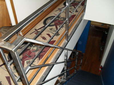 Tubular steel polished interior stair rails