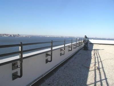 Roof railings commercial wall mounts apoxy bolted masonry long island