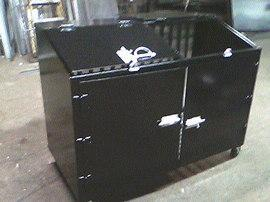 Welded Steel commercial can garbage bin painted black wheels