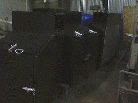 Custom steel welded garbage pail bins primed painted black chrome locks wheels galvanized