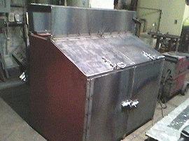 Unpainted raw exterior garbage pail storage enclosures welded steel flower boxes