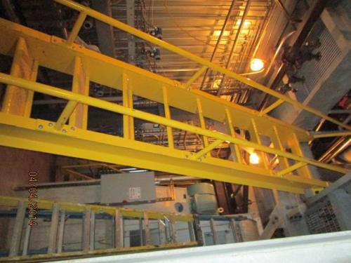 Boiler room catwalks fixed ship ladders constructed structural steel grating bolts