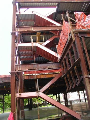 Double structural steel cement pan institutional staircase steel framed landing