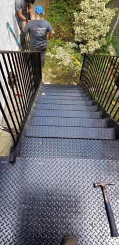 Outside diamond plate steps landing picket railings