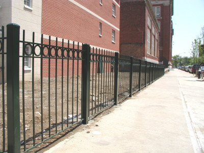 "½"" solid square bar Steel Fence 4′ with circles and 3"" tube posts. (Bronx, NY)"