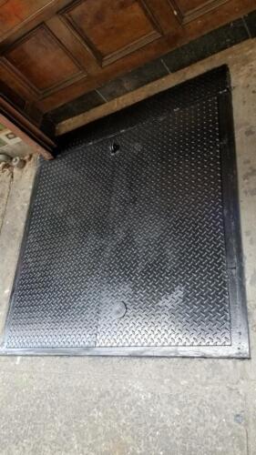 fixed panel metal diamond plate cellar door